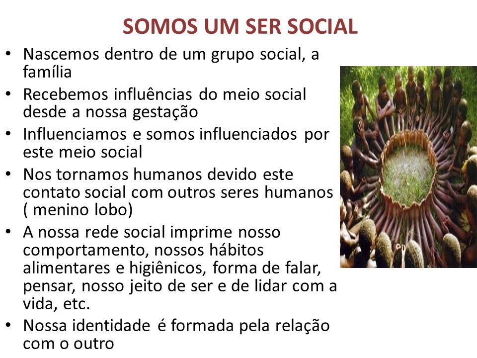 SOMOS UM SER SOCIAL Nascemos dentro de um grupo social, a família Recebemos influências do meio social desde a nossa gestação Influenciamos e somos in