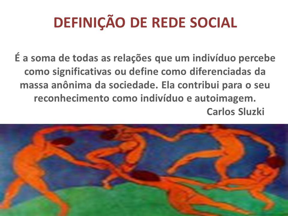 DEFINIÇÃO DE REDE SOCIAL É a soma de todas as relações que um indivíduo percebe como significativas ou define como diferenciadas da massa anônima da s