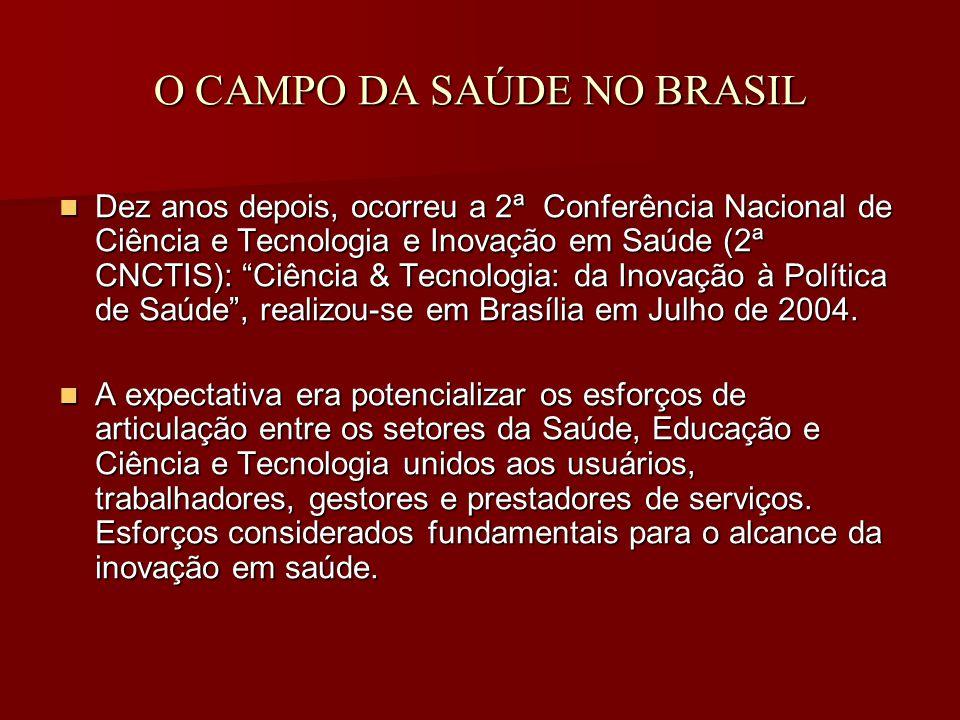 O CAMPO DA SAÚDE NO BRASIL Dez anos depois, ocorreu a 2ª Conferência Nacional de Ciência e Tecnologia e Inovação em Saúde (2ª CNCTIS): Ciência & Tecnologia: da Inovação à Política de Saúde , realizou-se em Brasília em Julho de 2004.