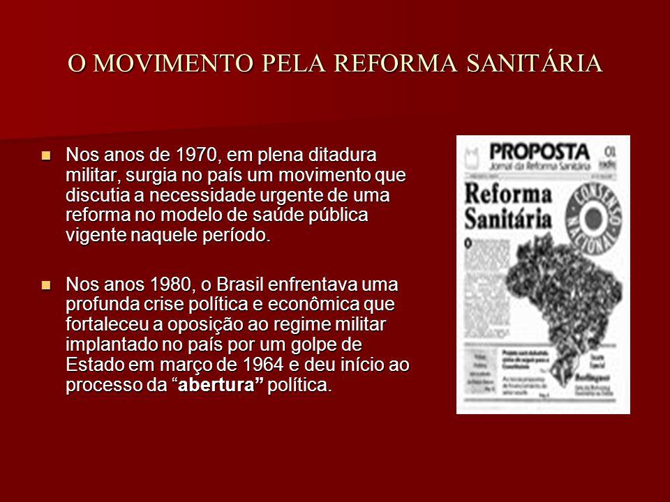 O MOVIMENTO PELA REFORMA SANITÁRIA Nos anos de 1970, em plena ditadura militar, surgia no país um movimento que discutia a necessidade urgente de uma reforma no modelo de saúde pública vigente naquele período.