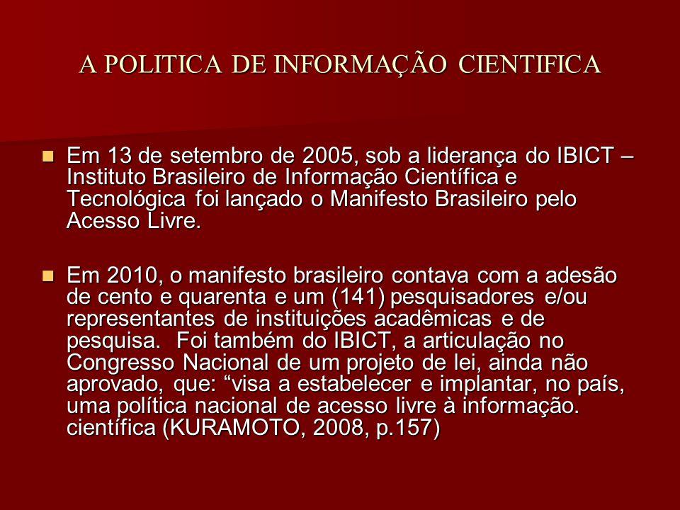 A POLITICA DE INFORMAÇÃO CIENTIFICA Em 13 de setembro de 2005, sob a liderança do IBICT – Instituto Brasileiro de Informação Científica e Tecnológica foi lançado o Manifesto Brasileiro pelo Acesso Livre.