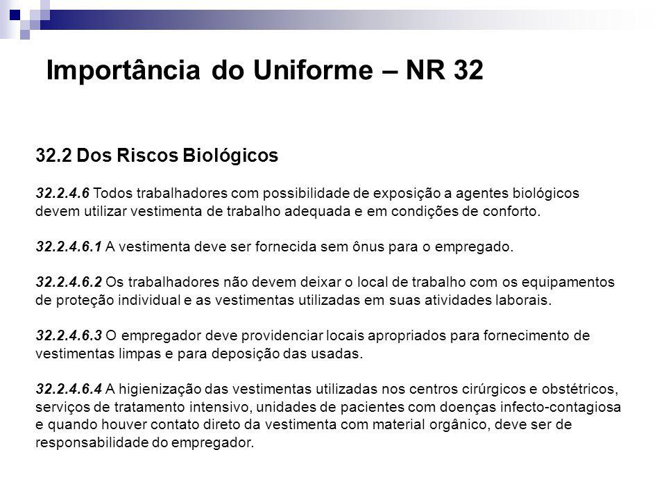 32.2 Dos Riscos Biológicos 32.2.4.6 Todos trabalhadores com possibilidade de exposição a agentes biológicos devem utilizar vestimenta de trabalho adeq