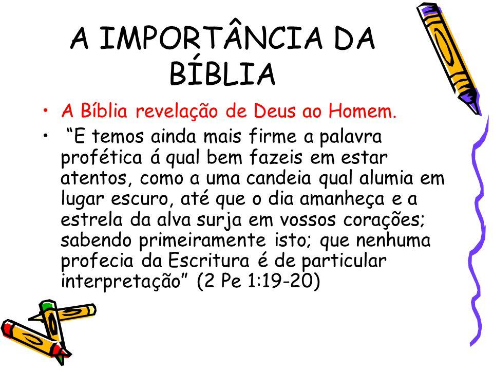 """A IMPORTÂNCIA DA BÍBLIA A Bíblia revelação de Deus ao Homem. """"E temos ainda mais firme a palavra profética á qual bem fazeis em estar atentos, como a"""