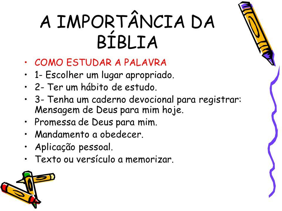 A IMPORTÂNCIA DA BÍBLIA COMO ESTUDAR A PALAVRA 1- Escolher um lugar apropriado. 2- Ter um hábito de estudo. 3- Tenha um caderno devocional para regist