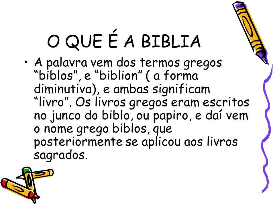 O QUE É A BIBLIA A palavra vem dos termos gregos biblos , e biblion ( a forma diminutiva), e ambas significam livro .