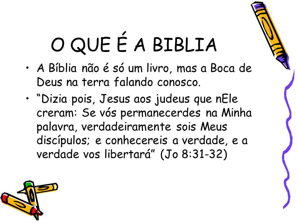 """O QUE É A BIBLIA A Bíblia não é só um livro, mas a Boca de Deus na terra falando conosco. """"Dizia pois, Jesus aos judeus que nEle creram: Se vós perman"""