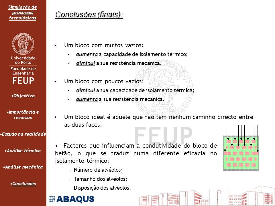 Simulação de processos tecnológicos Conclusões (finais): Um bloco com muitos vazios: –aumenta –aumenta a capacidade de isolamento térmico; –diminui –diminui a sua resistência mecânica.