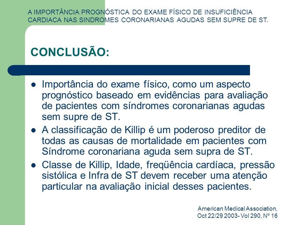 American Medical Association, Oct 22/29 2003- Vol 290, Nº 16 CONCLUSÃO: Importância do exame físico, como um aspecto prognóstico baseado em evidências para avaliação de pacientes com síndromes coronarianas agudas sem supre de ST.