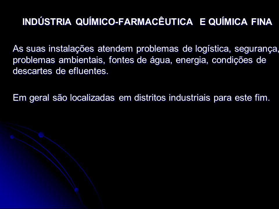 INDÚSTRIA QUÍMICO-FARMACÊUTICA E QUÍMICA FINA As suas instalações atendem problemas de logística, segurança, problemas ambientais, fontes de água, ene