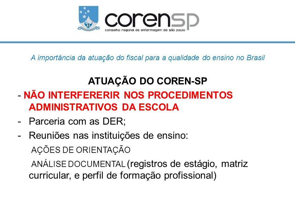 A importância da atuação do fiscal para a qualidade do ensino no Brasil ATUAÇÃO DO COREN-SP - NÃO INTERFERERIR NOS PROCEDIMENTOS ADMINISTRATIVOS DA ES