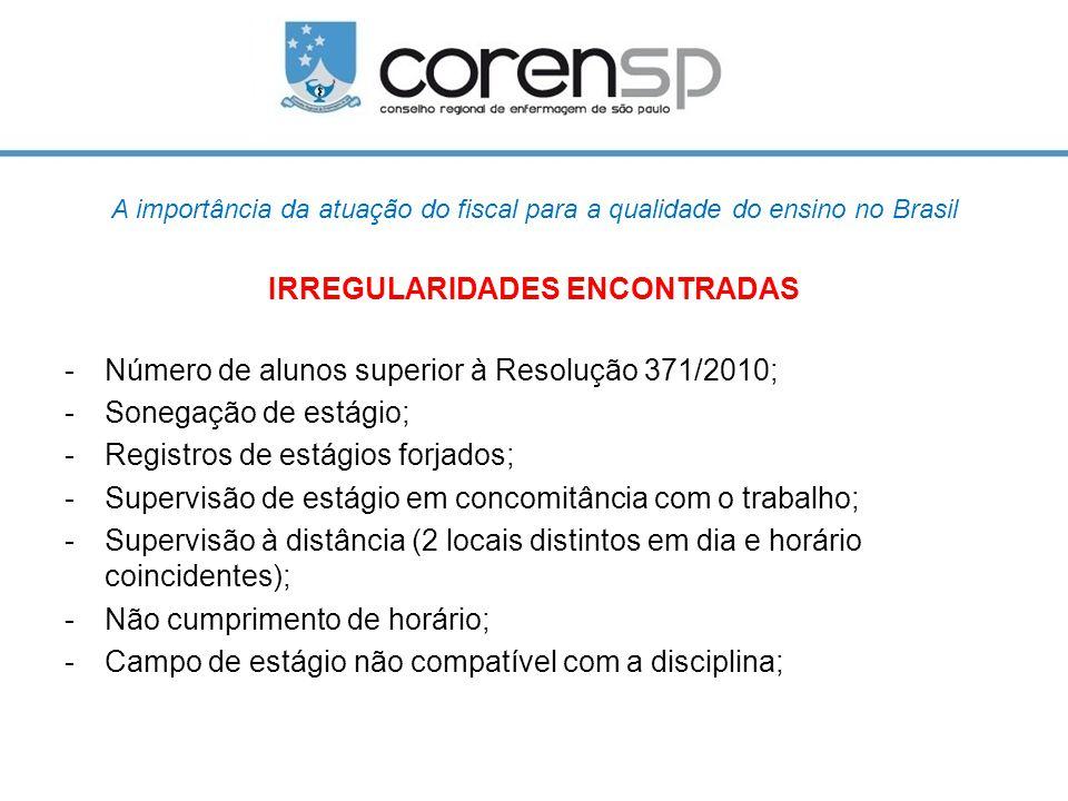 A importância da atuação do fiscal para a qualidade do ensino no Brasil IRREGULARIDADES ENCONTRADAS -Número de alunos superior à Resolução 371/2010; -