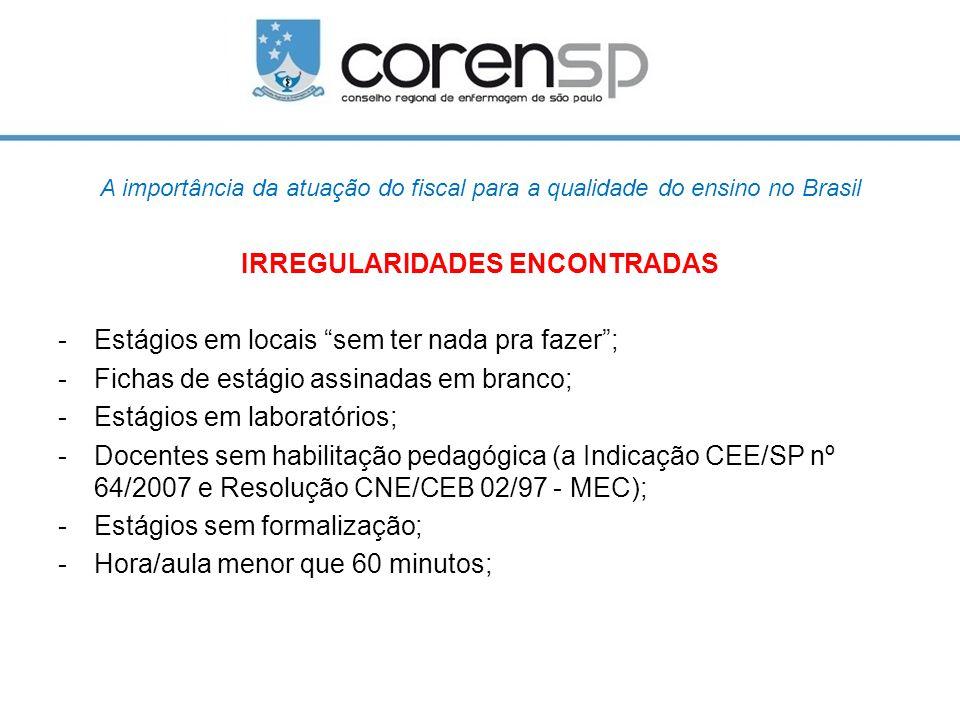 """A importância da atuação do fiscal para a qualidade do ensino no Brasil IRREGULARIDADES ENCONTRADAS -Estágios em locais """"sem ter nada pra fazer""""; -Fic"""