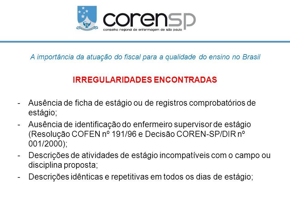 A importância da atuação do fiscal para a qualidade do ensino no Brasil IRREGULARIDADES ENCONTRADAS -Ausência de ficha de estágio ou de registros comp