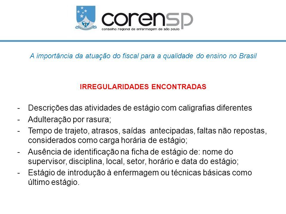 A importância da atuação do fiscal para a qualidade do ensino no Brasil IRREGULARIDADES ENCONTRADAS -Descrições das atividades de estágio com caligraf