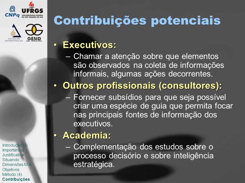 Contribuições potenciais Executivos:Executivos: –Chamar a atenção sobre que elementos são observados na coleta de informações informais, algumas ações decorrentes.