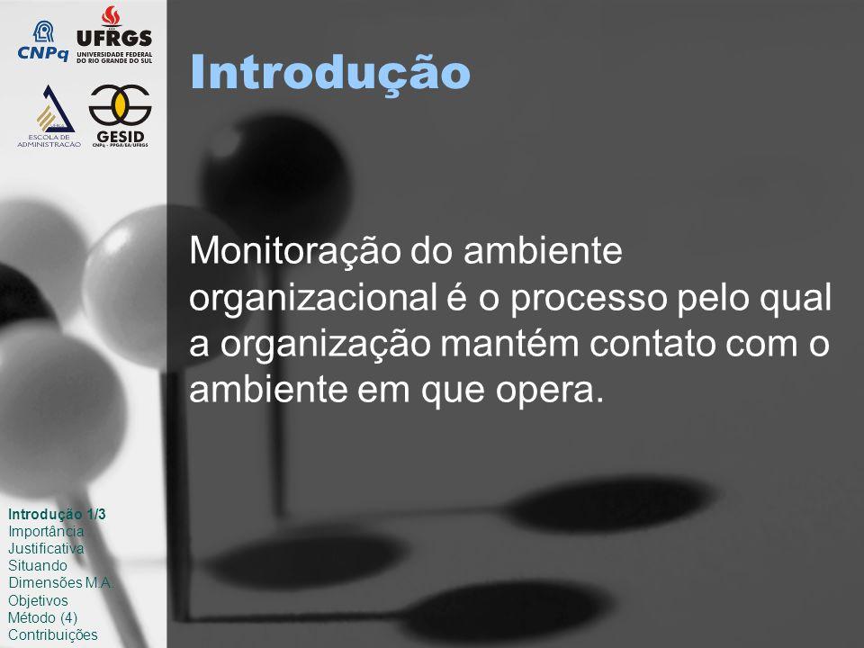 Introdução Monitoração do ambiente organizacional é o processo pelo qual a organização mantém contato com o ambiente em que opera.