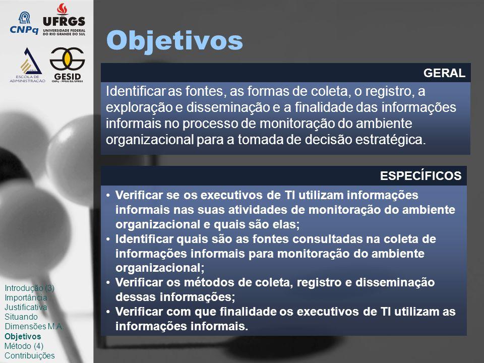 Objetivos Identificar as fontes, as formas de coleta, o registro, a exploração e disseminação e a finalidade das informações informais no processo de monitoração do ambiente organizacional para a tomada de decisão estratégica.