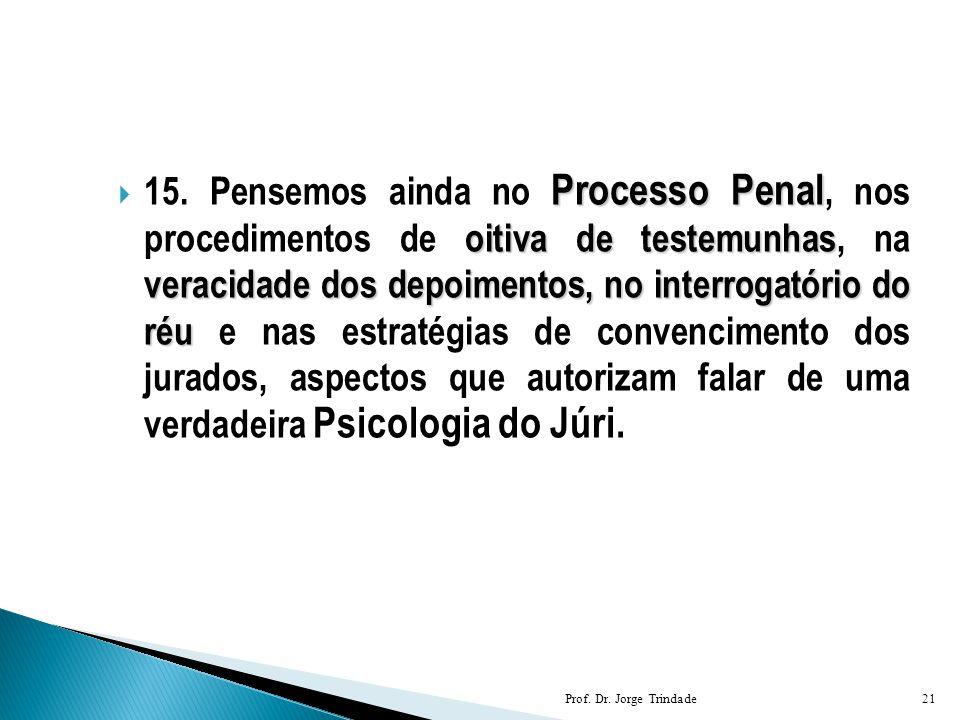 Processo Penal oitiva de testemunhas veracidade dos depoimentos, no interrogatório do réu  15. Pensemos ainda no Processo Penal, nos procedimentos de
