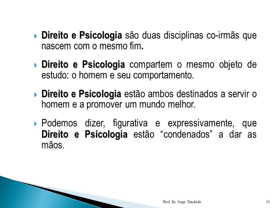  Direito e Psicologia  Direito e Psicologia são duas disciplinas co-irmãs que nascem com o mesmo fim.  Direito e Psicologia  Direito e Psicologia
