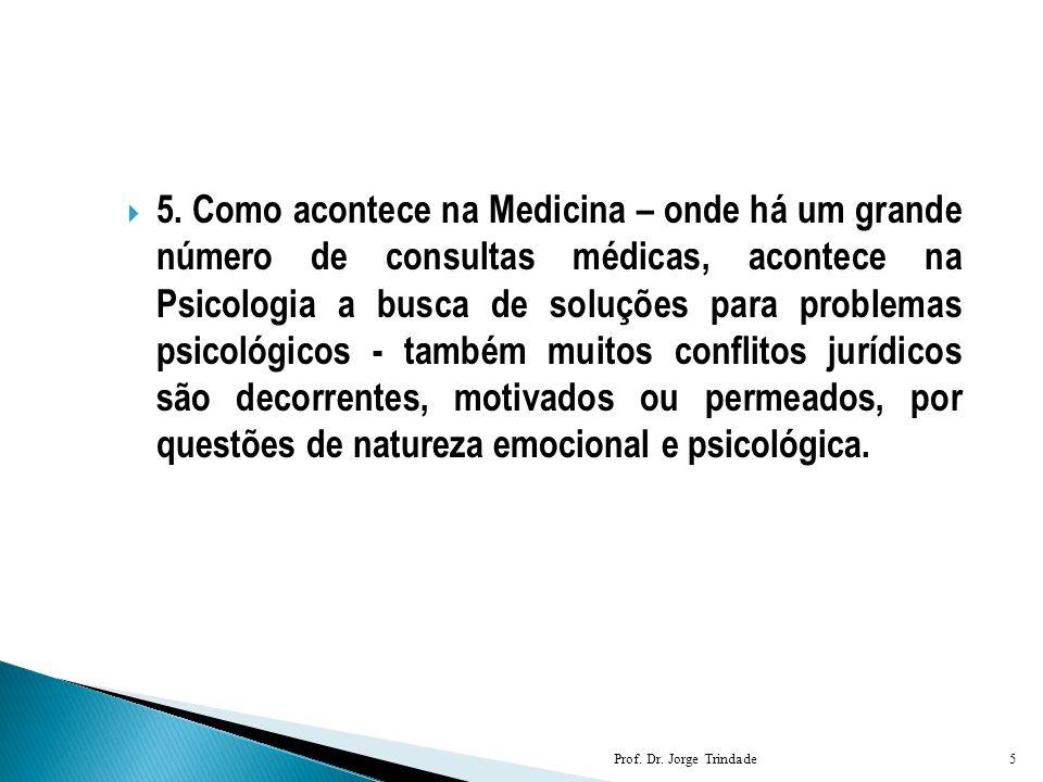  5. Como acontece na Medicina – onde há um grande número de consultas médicas, acontece na Psicologia a busca de soluções para problemas psicológicos