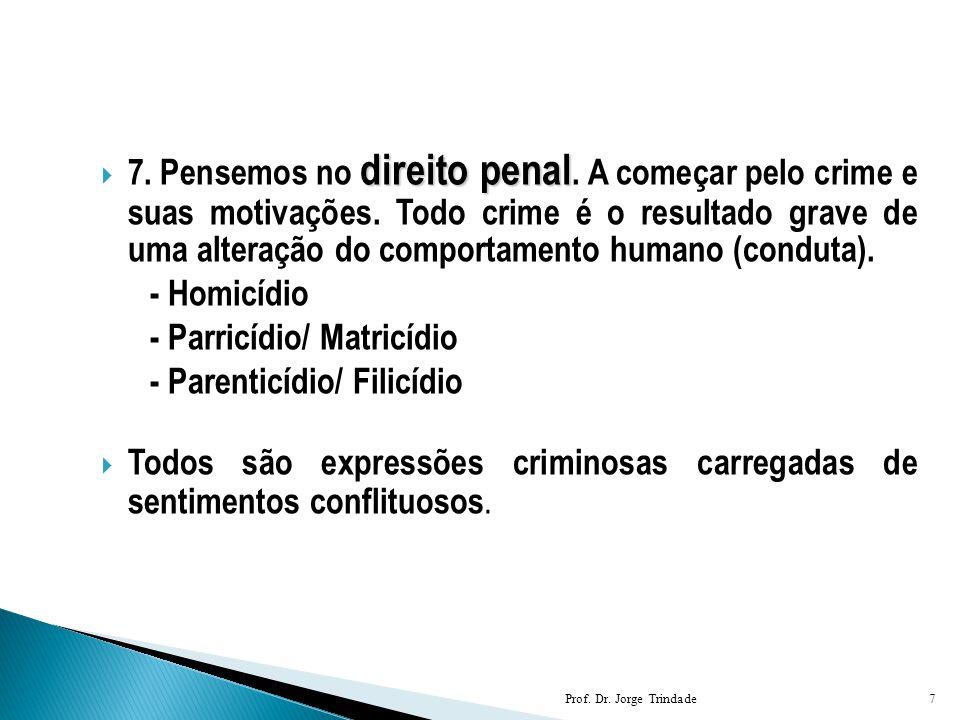 direito penal  7. Pensemos no direito penal. A começar pelo crime e suas motivações. Todo crime é o resultado grave de uma alteração do comportamento