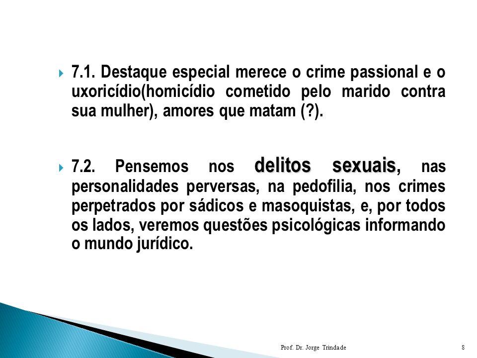  7.1. Destaque especial merece o crime passional e o uxoricídio(homicídio cometido pelo marido contra sua mulher), amores que matam (?). delitos sexu
