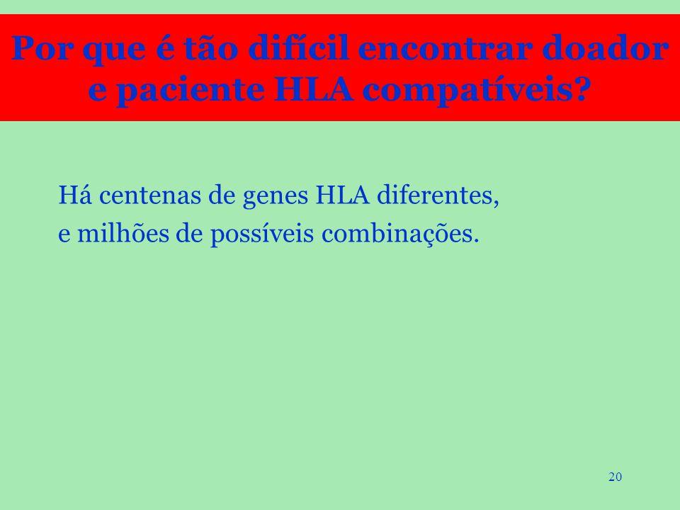 20 Há centenas de genes HLA diferentes, e milhões de possíveis combinações. Por que é tão difícil encontrar doador e paciente HLA compatíveis?