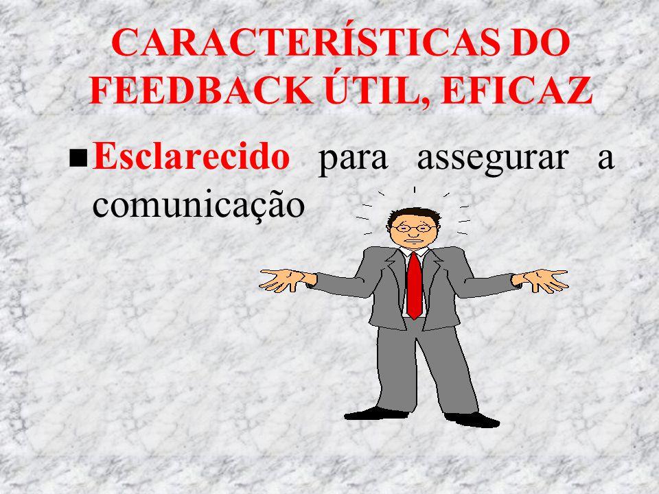CARACTERÍSTICAS DO FEEDBACK ÚTIL, EFICAZ Esclarecido para assegurar a comunicação