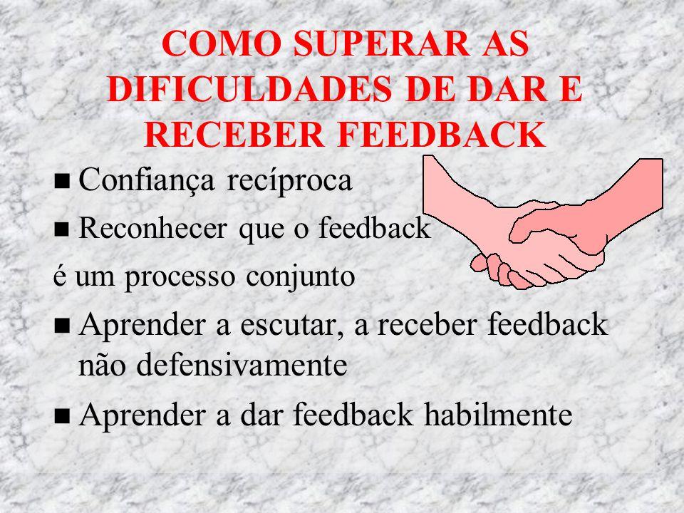 COMO SUPERAR AS DIFICULDADES DE DAR E RECEBER FEEDBACK Confiança recíproca Reconhecer que o feedback é um processo conjunto Aprender a escutar, a receber feedback não defensivamente Aprender a dar feedback habilmente
