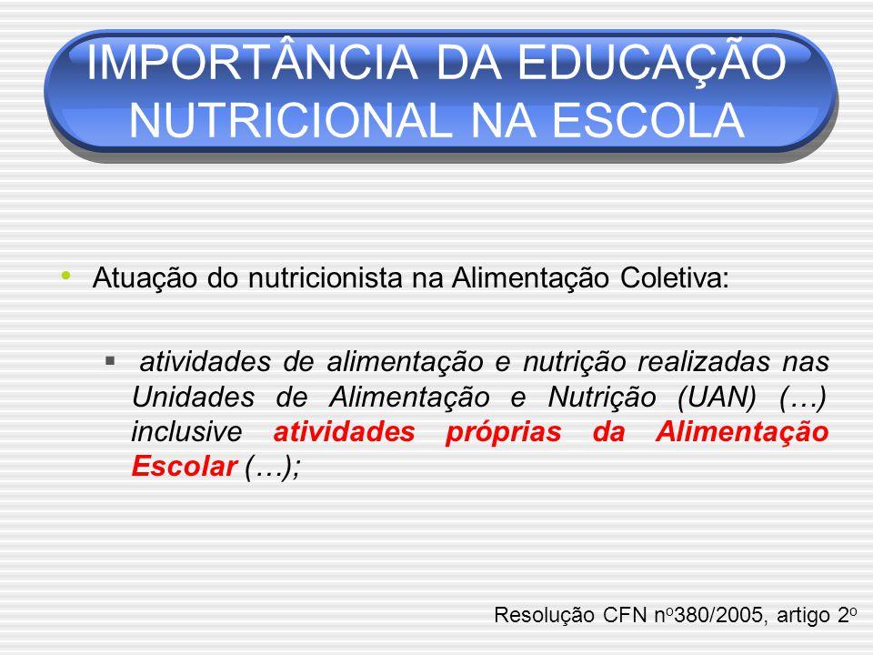 Atuação do nutricionista na Alimentação Coletiva:  atividades de alimentação e nutrição realizadas nas Unidades de Alimentação e Nutrição (UAN) (…) inclusive atividades próprias da Alimentação Escolar (…); IMPORTÂNCIA DA EDUCAÇÃO NUTRICIONAL NA ESCOLA Resolução CFN n o 380/2005, artigo 2 o