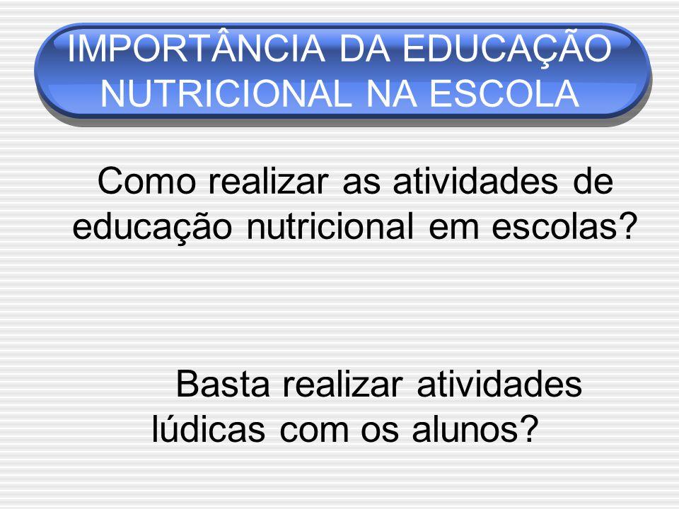 Como realizar as atividades de educação nutricional em escolas.