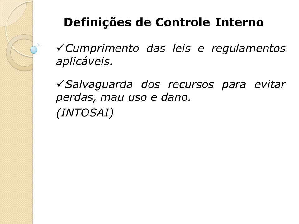 Definições de Controle Interno Cumprimento das leis e regulamentos aplicáveis. Salvaguarda dos recursos para evitar perdas, mau uso e dano. (INTOSAI)