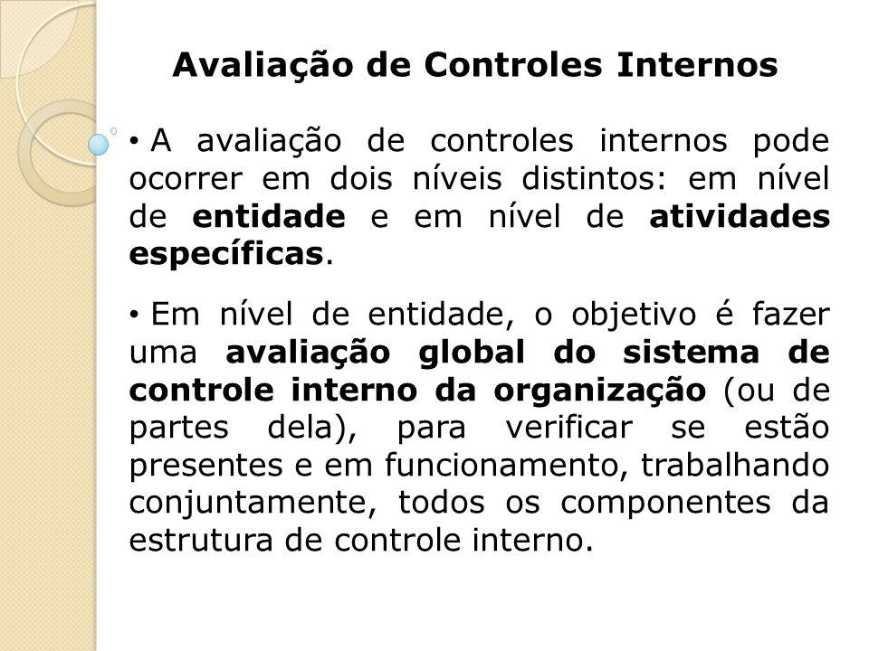 Avaliação de Controles Internos A avaliação de controles internos pode ocorrer em dois níveis distintos: em nível de entidade e em nível de atividades
