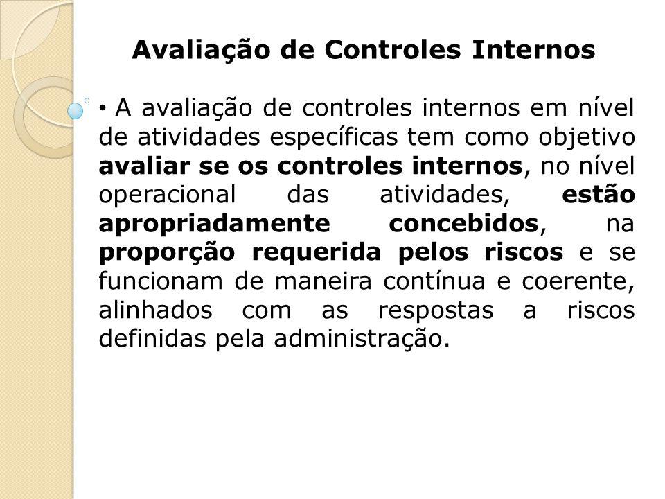 Avaliação de Controles Internos A avaliação de controles internos em nível de atividades específicas tem como objetivo avaliar se os controles interno