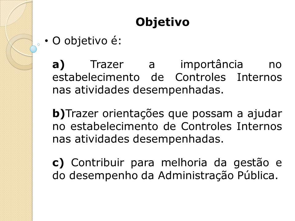 Objetivo O objetivo é: a) Trazer a importância no estabelecimento de Controles Internos nas atividades desempenhadas. b)Trazer orientações que possam