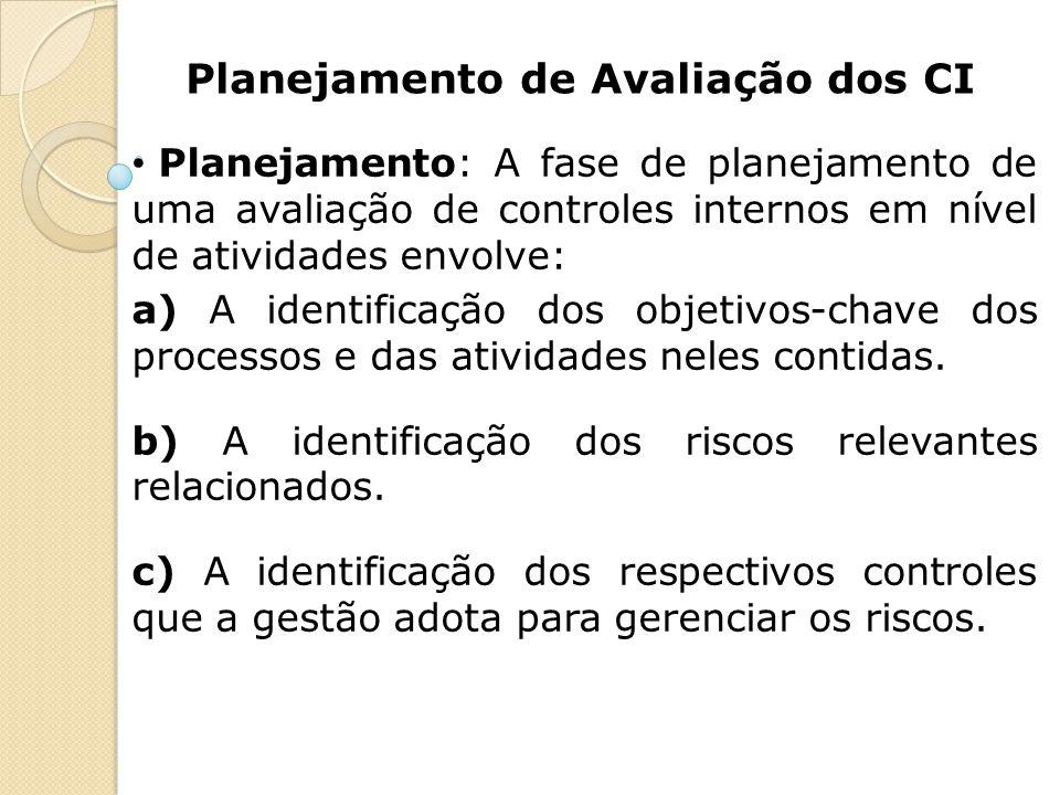 Planejamento de Avaliação dos CI Planejamento: A fase de planejamento de uma avaliação de controles internos em nível de atividades envolve: a) A iden