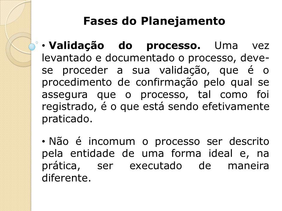 Fases do Planejamento Validação do processo. Uma vez levantado e documentado o processo, deve- se proceder a sua validação, que é o procedimento de co