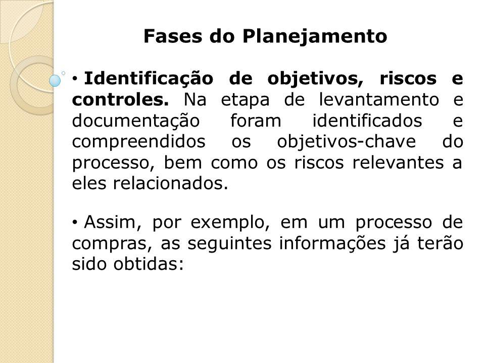 Fases do Planejamento Identificação de objetivos, riscos e controles. Na etapa de levantamento e documentação foram identificados e compreendidos os o