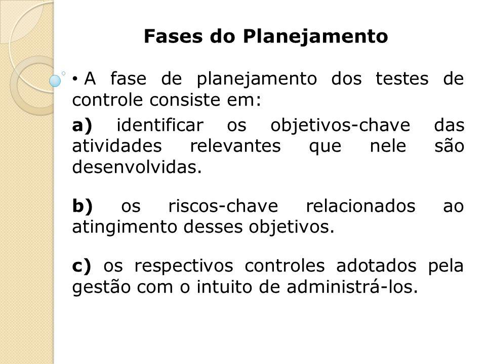 Fases do Planejamento A fase de planejamento dos testes de controle consiste em: a) identificar os objetivos-chave das atividades relevantes que nele
