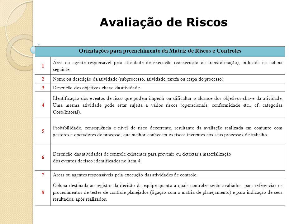 Avaliação de Riscos Orientações para preenchimento da Matriz de Riscos e Controles 1 Área ou agente responsável pela atividade de execução (consecução