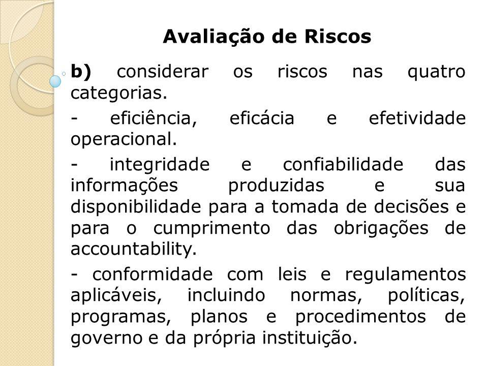 Avaliação de Riscos b) considerar os riscos nas quatro categorias. - eficiência, eficácia e efetividade operacional. - integridade e confiabilidade da
