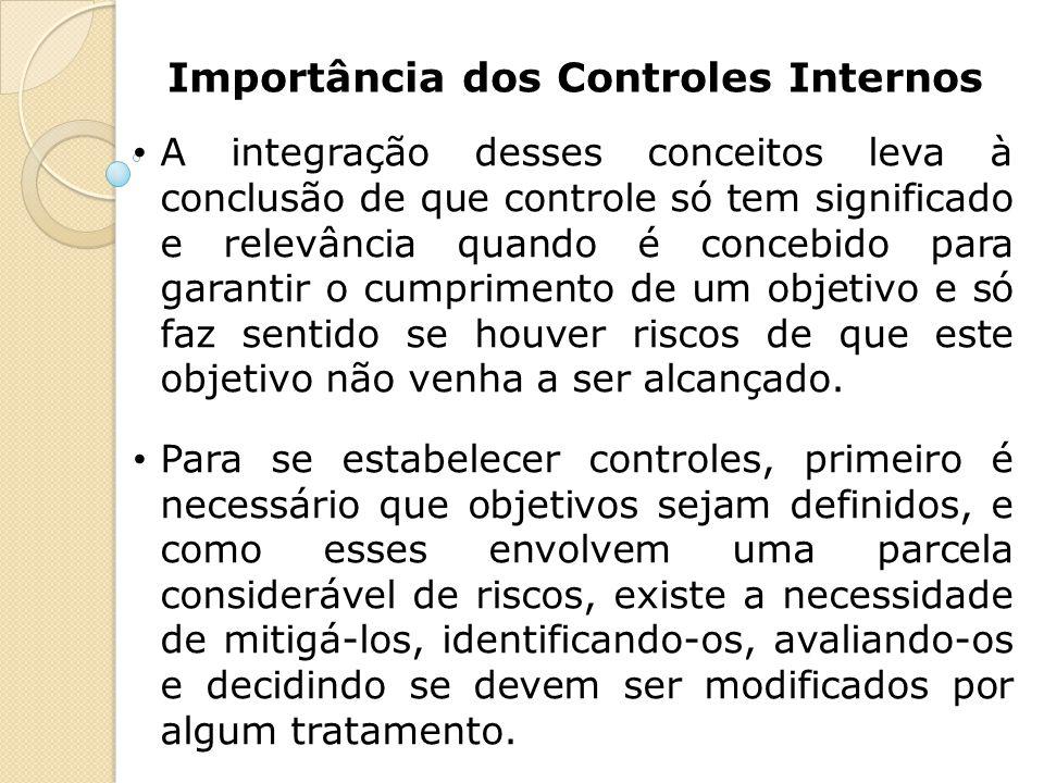 Importância dos Controles Internos A integração desses conceitos leva à conclusão de que controle só tem significado e relevância quando é concebido p