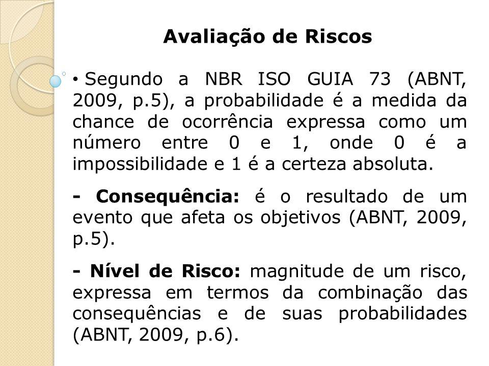 Avaliação de Riscos Segundo a NBR ISO GUIA 73 (ABNT, 2009, p.5), a probabilidade é a medida da chance de ocorrência expressa como um número entre 0 e