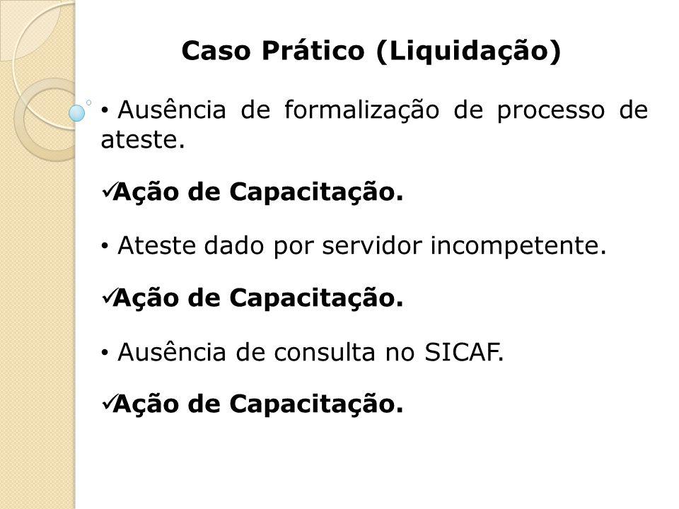 Caso Prático (Liquidação) Ausência de formalização de processo de ateste. Ação de Capacitação. Ateste dado por servidor incompetente. Ação de Capacita
