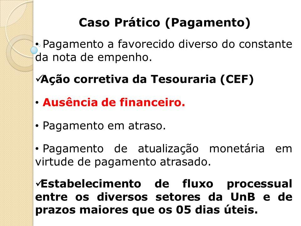 Caso Prático (Pagamento) Pagamento a favorecido diverso do constante da nota de empenho. Ação corretiva da Tesouraria (CEF) Ausência de financeiro. Pa
