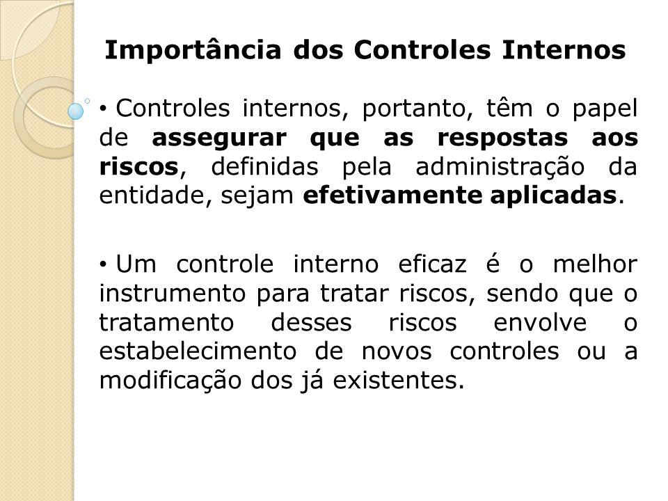 Importância dos Controles Internos Controles internos, portanto, têm o papel de assegurar que as respostas aos riscos, definidas pela administração da
