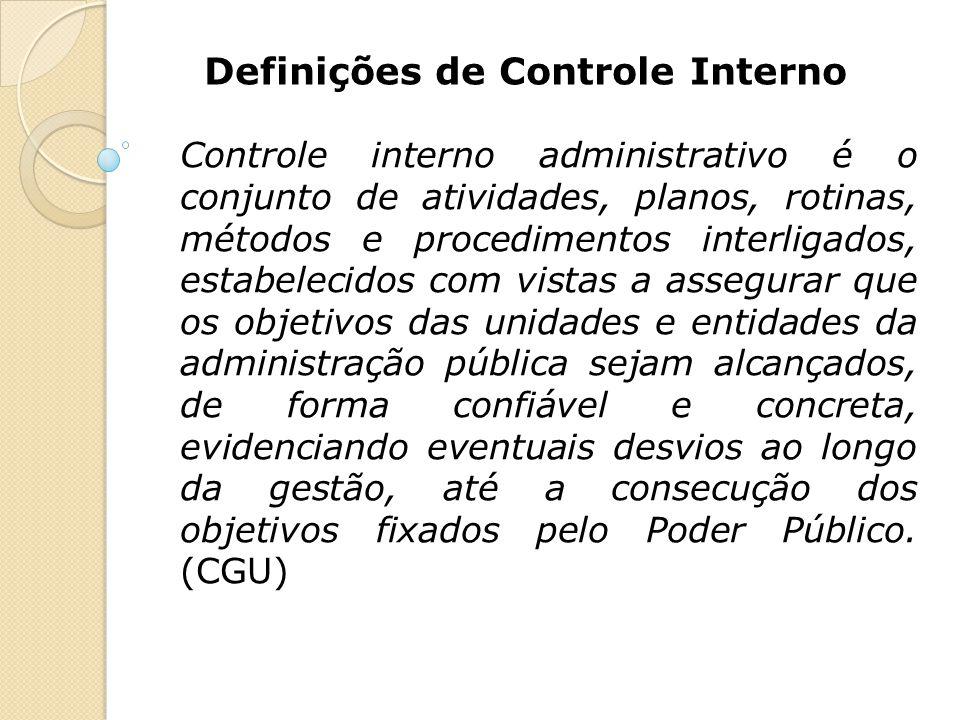 Definições de Controle Interno Controle interno administrativo é o conjunto de atividades, planos, rotinas, métodos e procedimentos interligados, esta