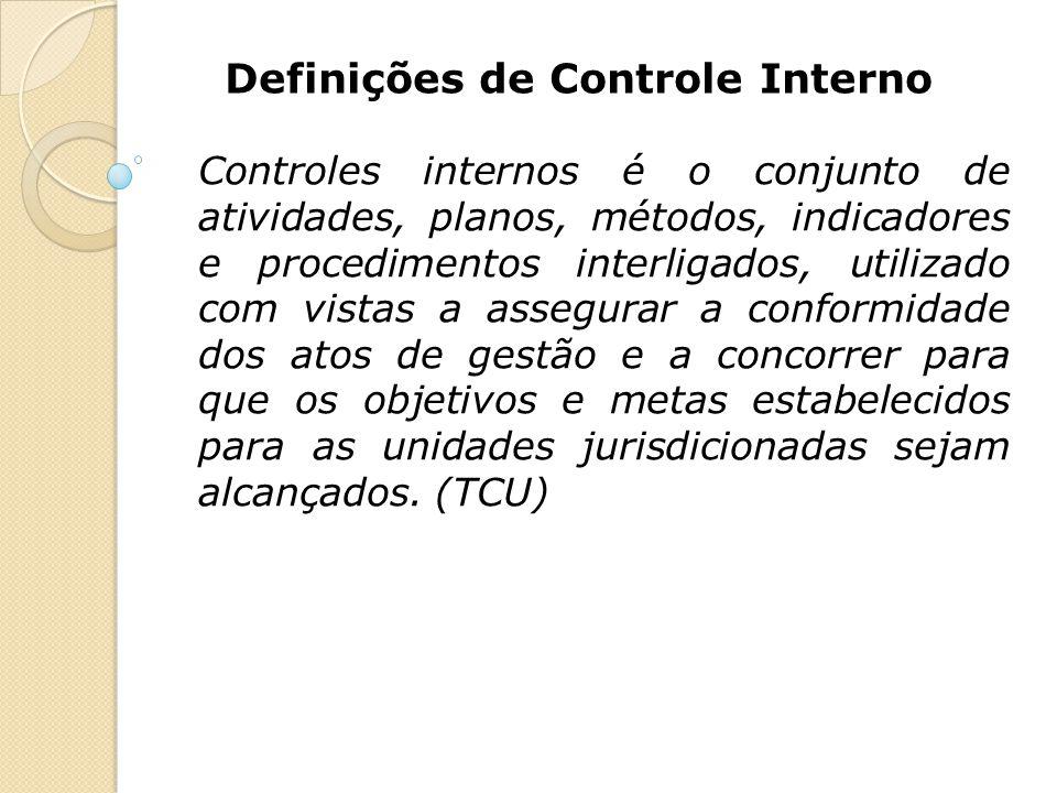 Definições de Controle Interno Controles internos é o conjunto de atividades, planos, métodos, indicadores e procedimentos interligados, utilizado com