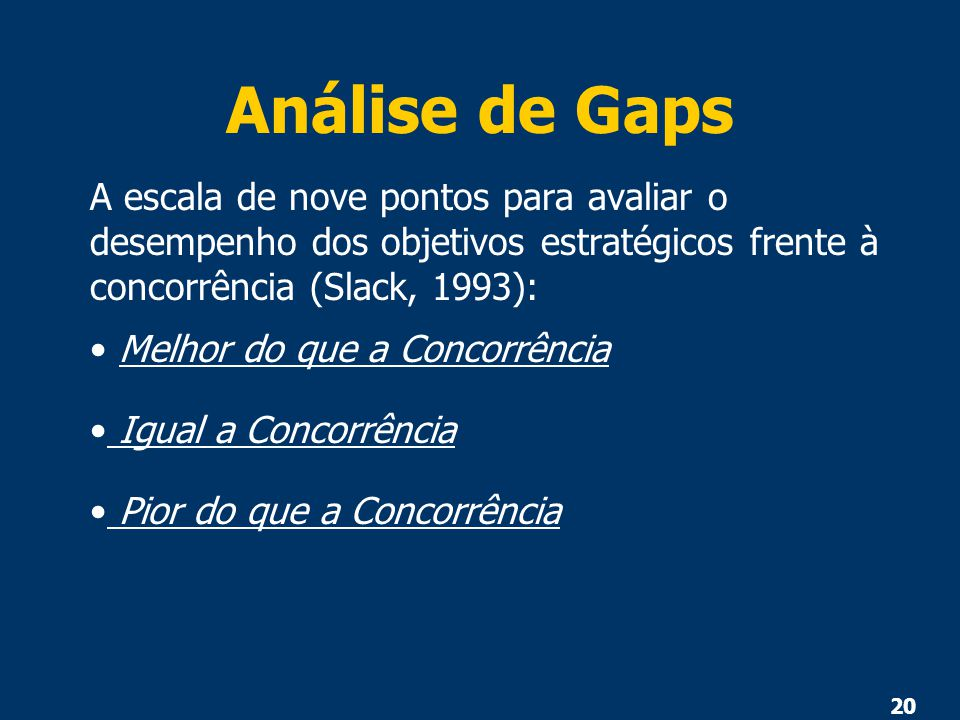 20 Análise de Gaps A escala de nove pontos para avaliar o desempenho dos objetivos estratégicos frente à concorrência (Slack, 1993): Melhor do que a C