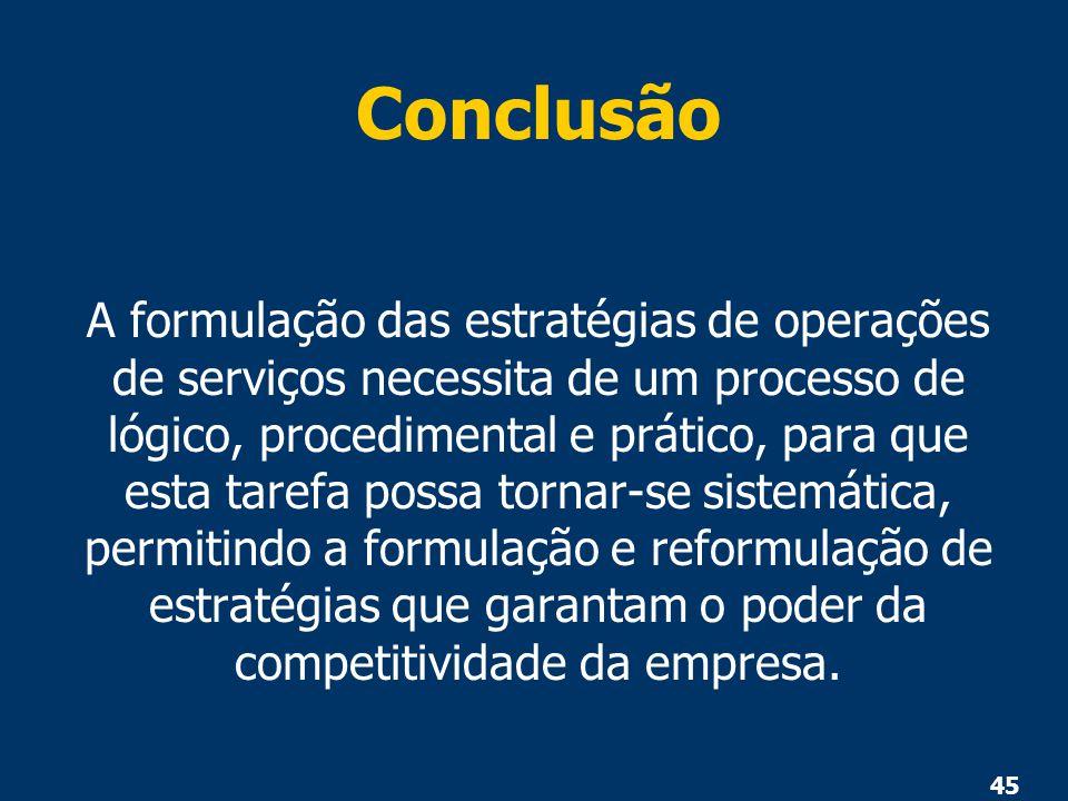 45 Conclusão A formulação das estratégias de operações de serviços necessita de um processo de lógico, procedimental e prático, para que esta tarefa p